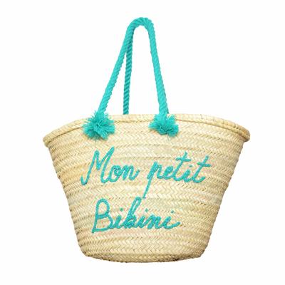 Panier osier Mon Petit Bikini vert pailleté