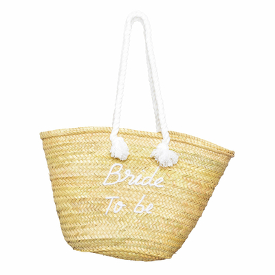 Panier en osier Bride to be blanc