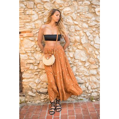 Jupe longue marron Camel Lina
