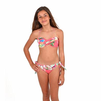 Maillot de bain fille Bandeau Rose corail Mon Mini Twist Bikini