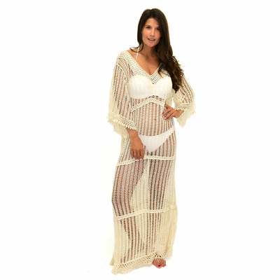 Tunique de plage en crochet long beige