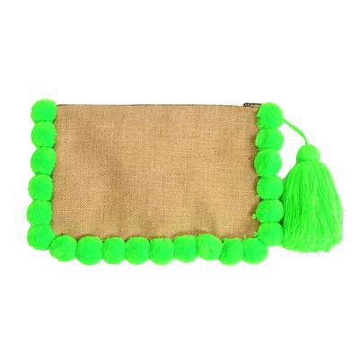 Pochette à pompons vert fluo