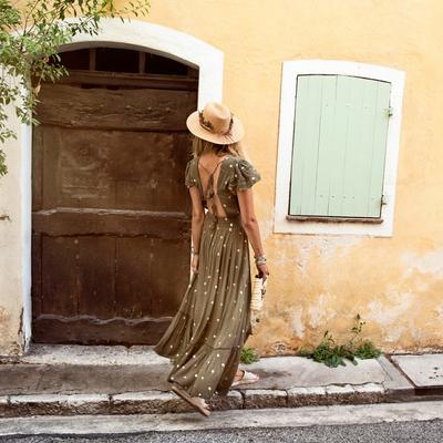 Robe de plage vert kaki manches courtes à sequins Lady