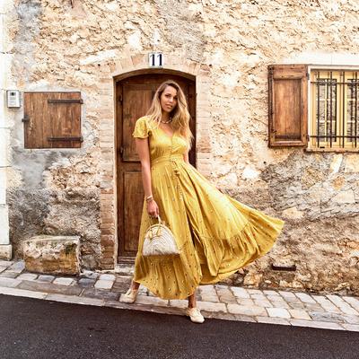 Robe de plage longue à sequins jaune moutarde Lady