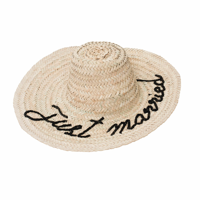 Chapeau en osier Just Married noir