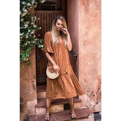 Robe de plage marron camel à sequins Mimi