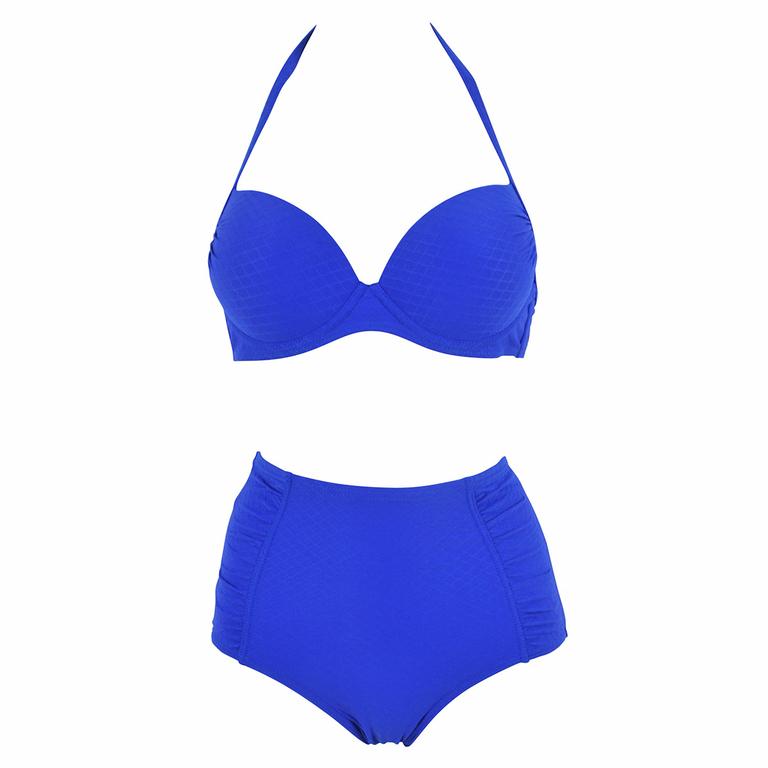 Maillot de bain deux pi ces bleu roy push up et taille haute for Maillot deux pieces piscine