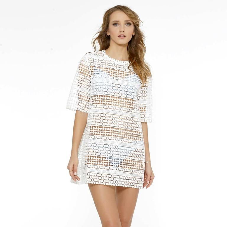 Robe-de-plage-blanche-en-dentelle-Monochrome-piqué-370-9416-034