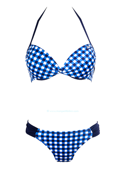 Bikini 2 pi ces vichy bleu maillot de bain lolita angels for Maillot deux pieces piscine