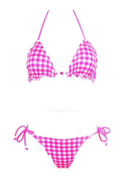 ded7bedf99 Lolita Angels - Maillot de bain deux pièces triangle vichy rose fluo