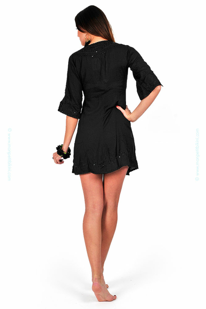 tunique de plage brod e en coton noir robe de plage kiwi. Black Bedroom Furniture Sets. Home Design Ideas