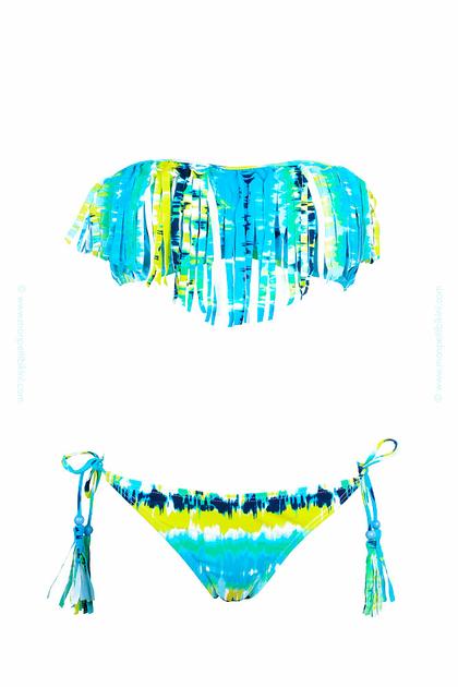 maillot de bain bandeau franges bleu maillot de bain tie and die. Black Bedroom Furniture Sets. Home Design Ideas