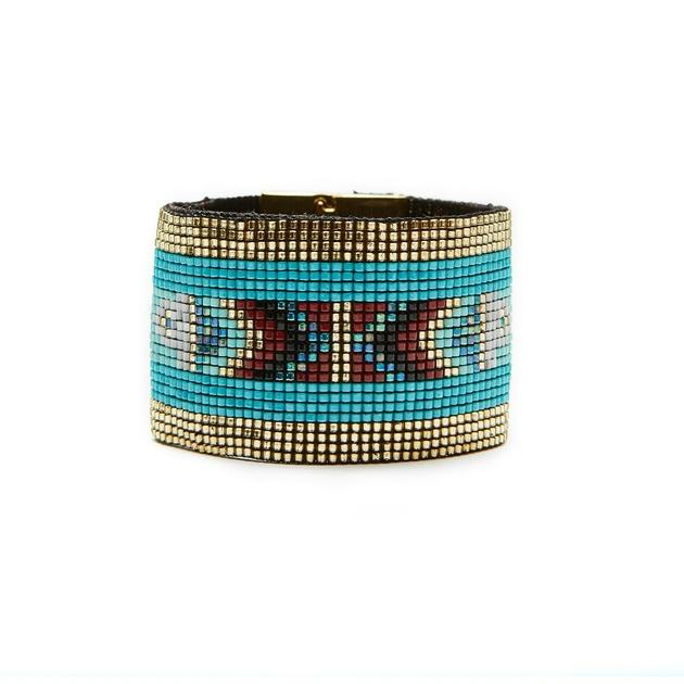 f4f717b10806a8 ... Manchette bréslienne Bella Bleu turquoise. bracelet-en-perle-BELLA- hipanema-2016-dos