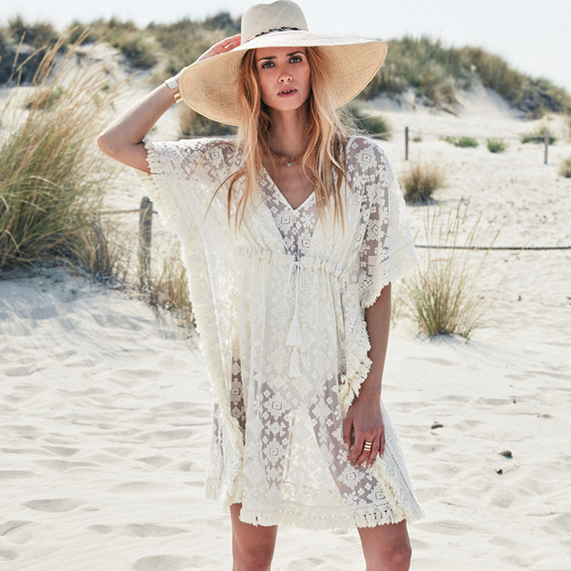 tunique de plage blanche brod e amenapih by hipanema beachwear. Black Bedroom Furniture Sets. Home Design Ideas