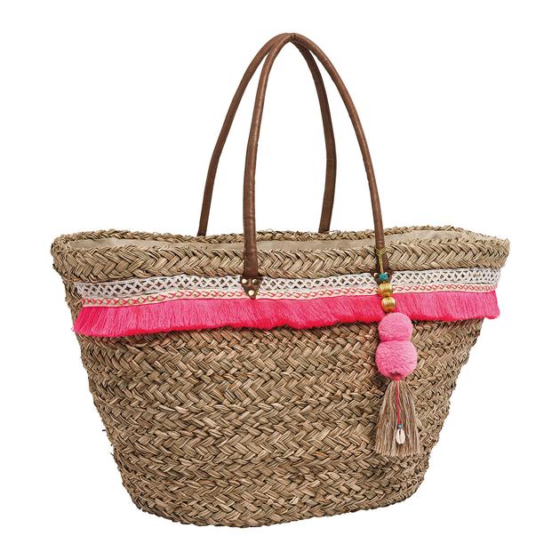 panier de plage rose en paille rita accessoires sacs amenapih. Black Bedroom Furniture Sets. Home Design Ideas