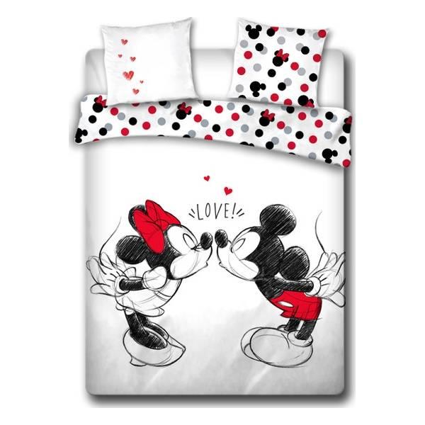 Parure de lit Minnie et Mickey love - 100% coton 240 X 220 CM + 2 Taies