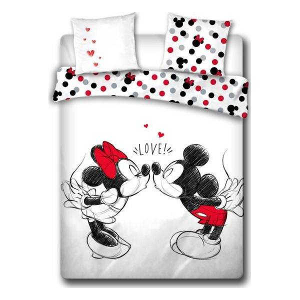 Parure Housse de couette Mickey et Minnie Love en coton