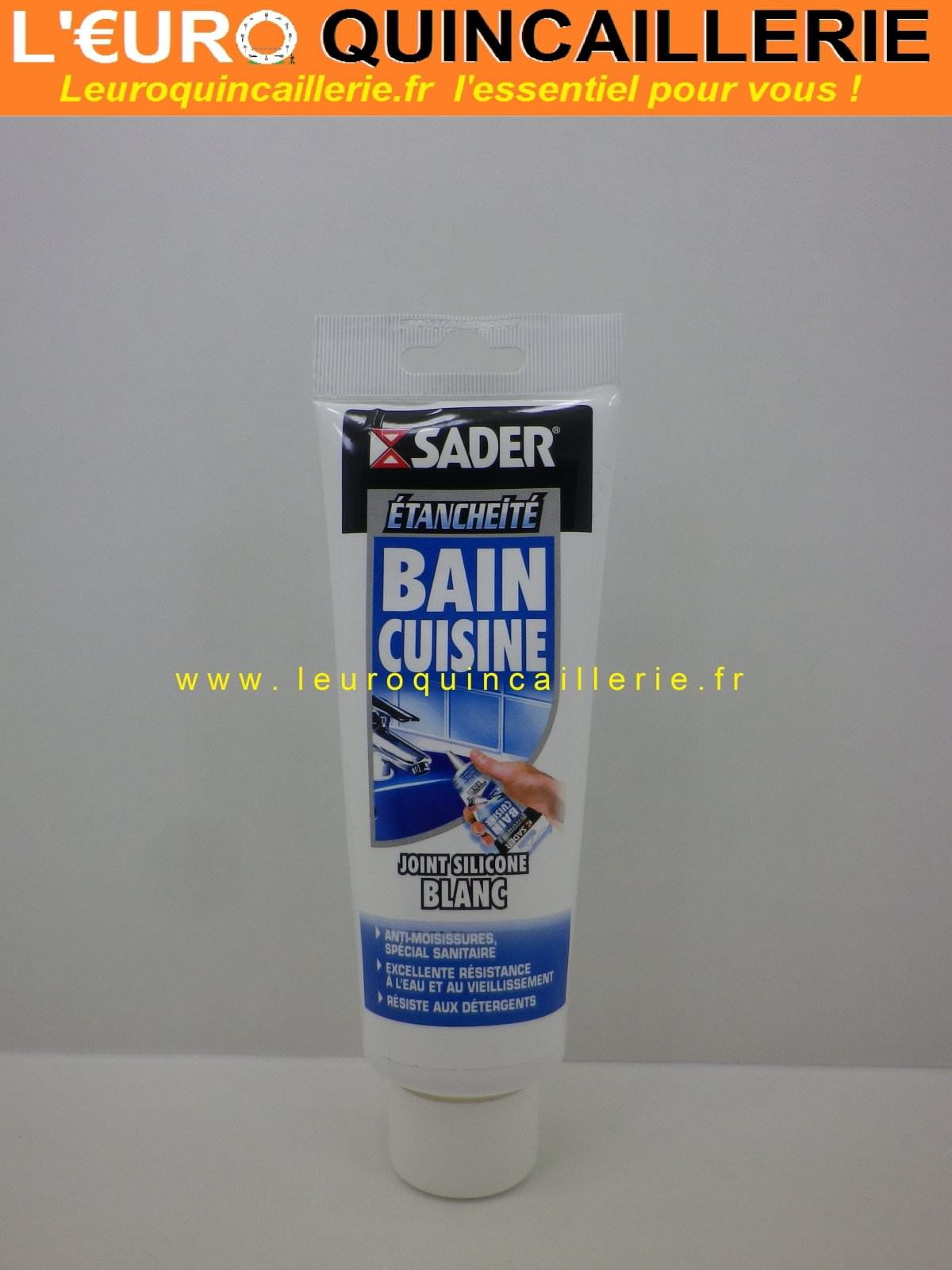 Silicone blanc sanitaire Sader bain cuisine en tube