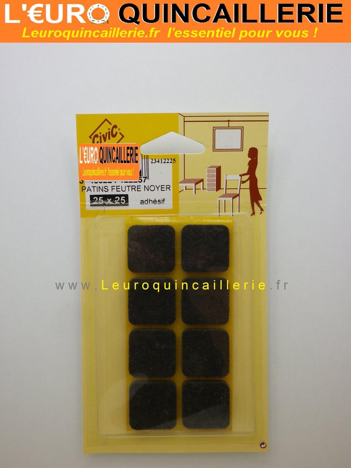 Patins feutre adhésif noyer carré 25x25 mm
