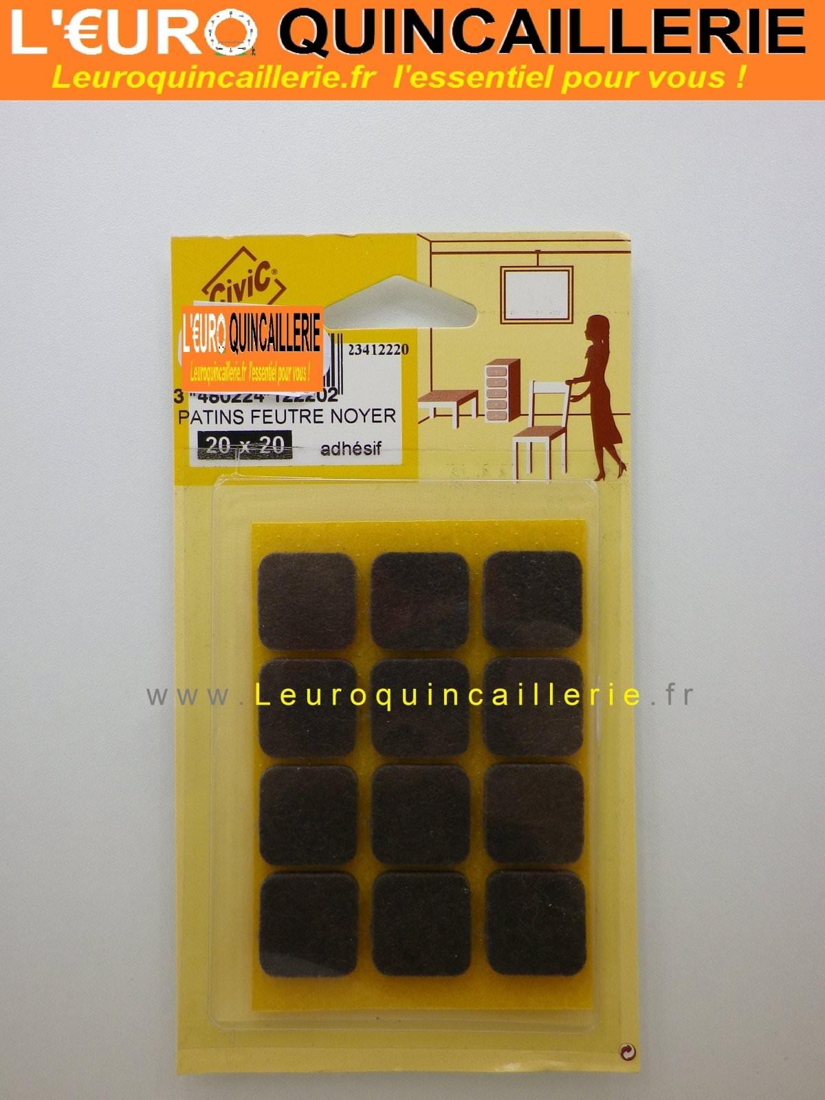 Patins feutre adhésif noyer carré 20x20 mm