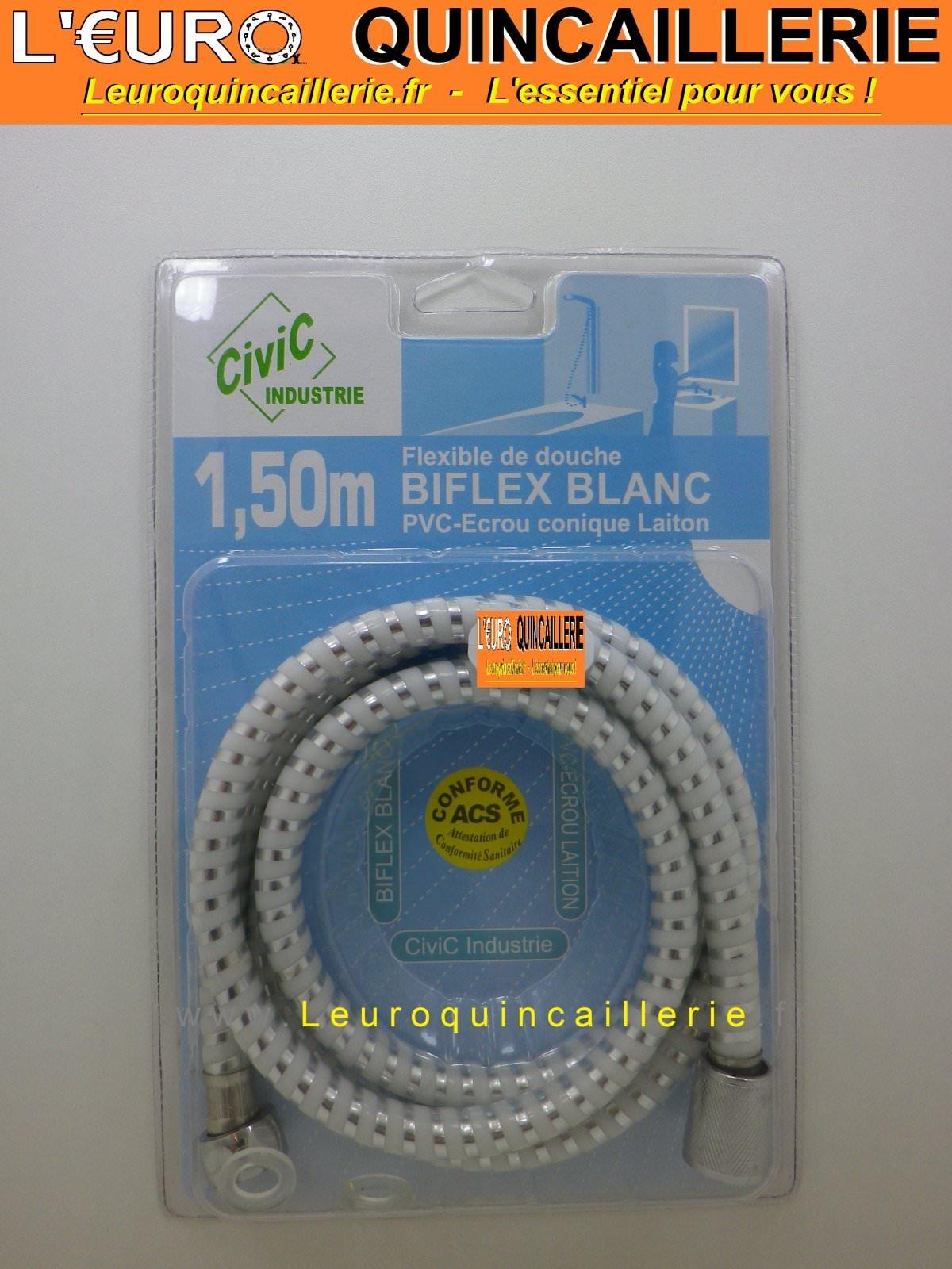 Flexible de douche PVC tuyau biflex blanc 1.5 mètre