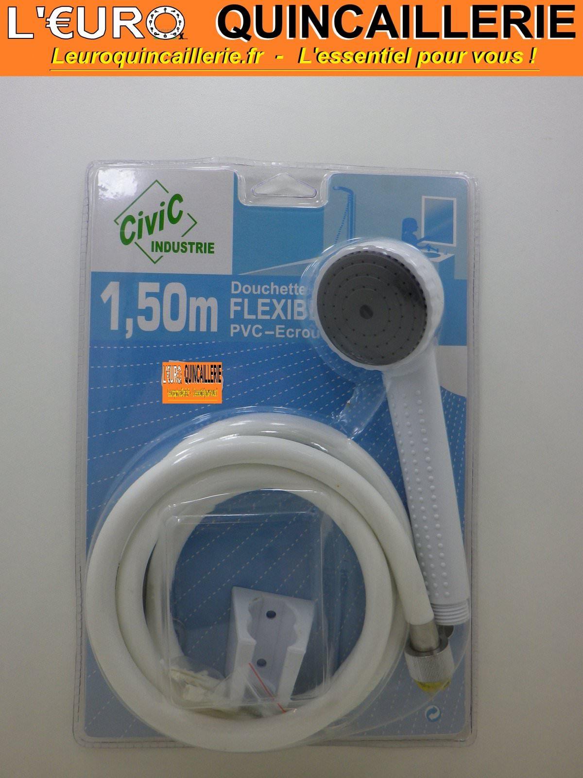 Ensemble Douchette blanche 1 jet + Flexible PVC 1.50 mètre