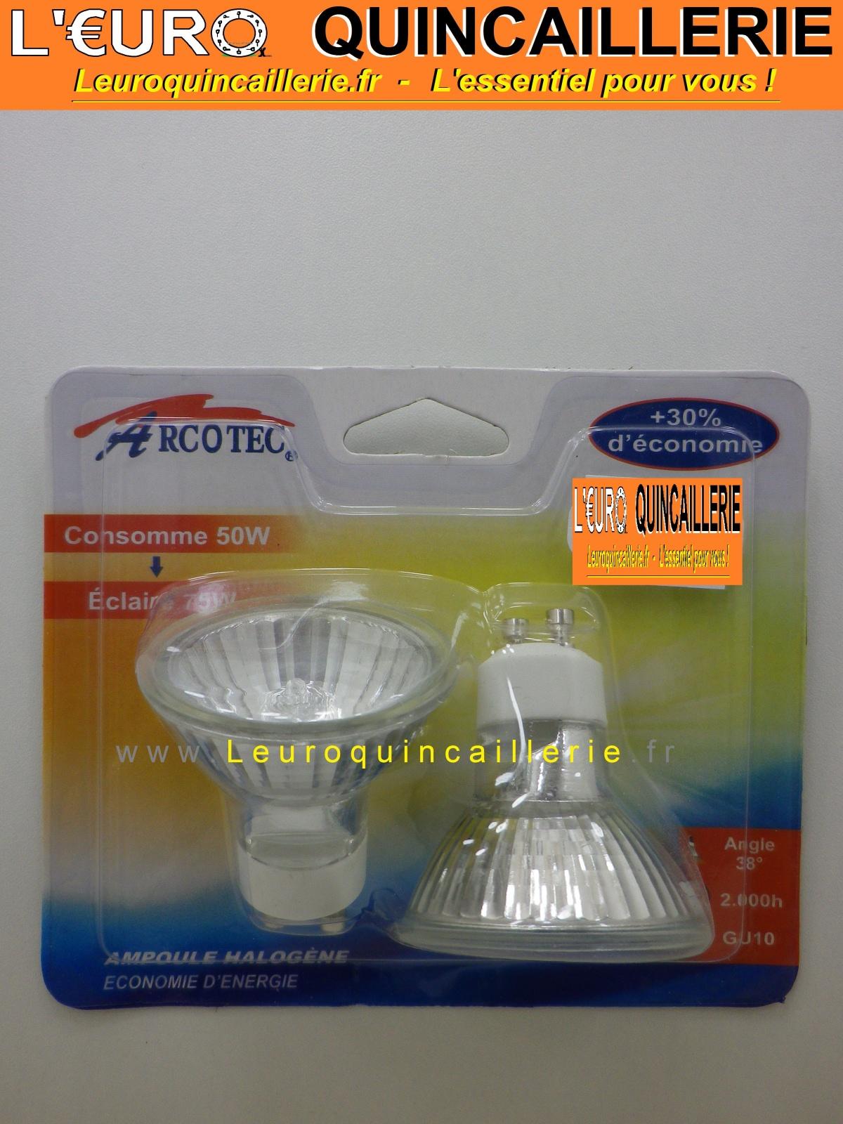 2 Ampoules halogéne GU10 220 Volts 50 W éclaire 75 Watts