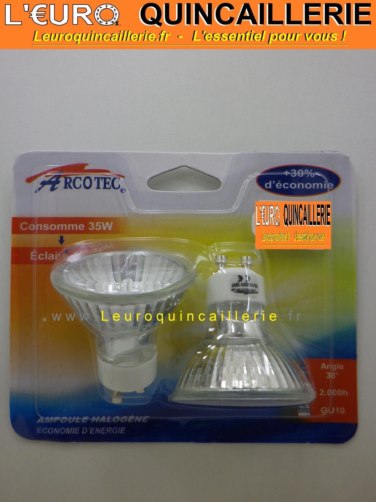 2 Ampoules halogène GU10 220 Volts 35 W éclaire 50 Watts