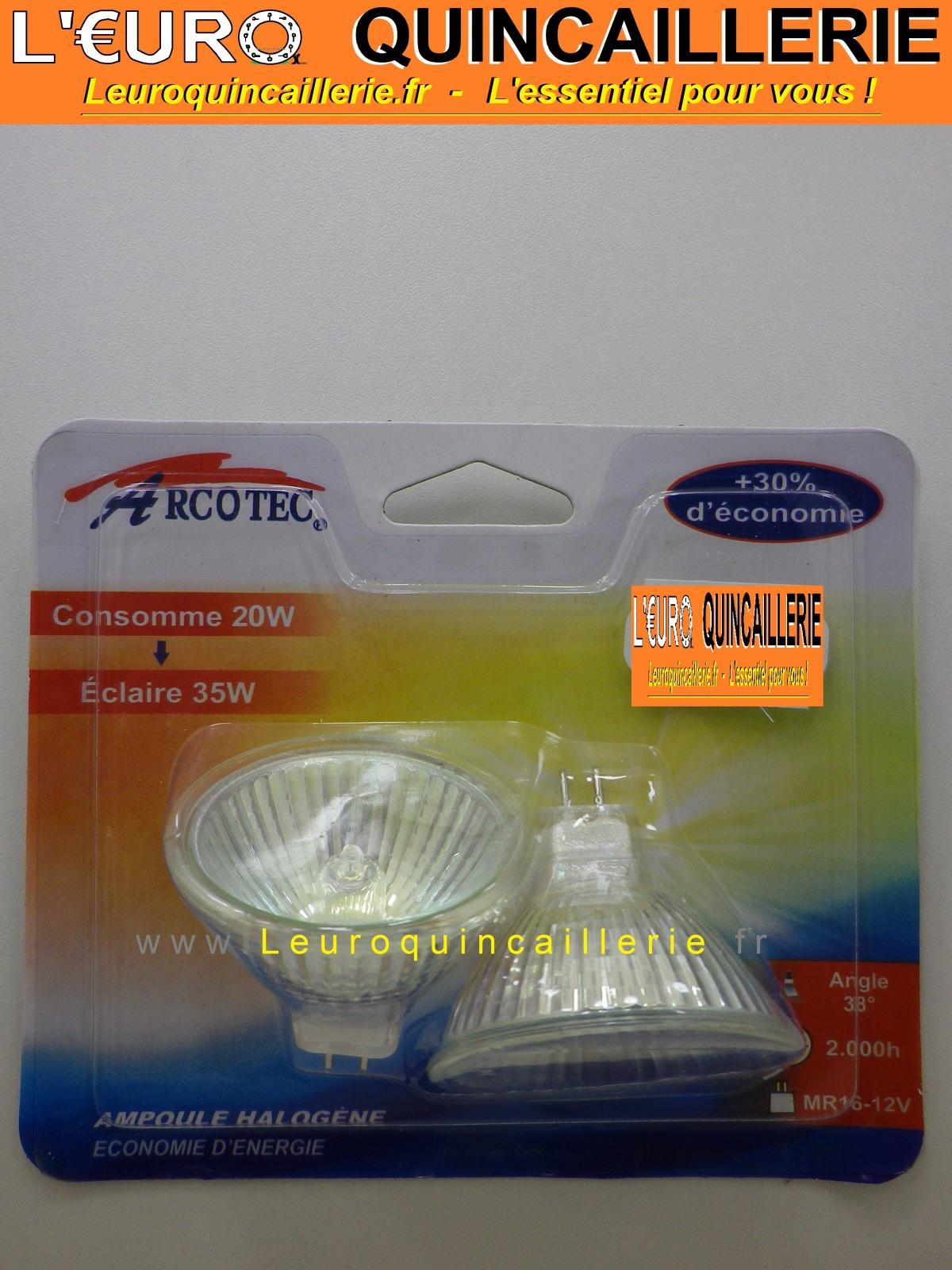 2 ampoules halog ne mr16 12 volts 20w claire 35 watts - Quincaillerie paris 16 ...