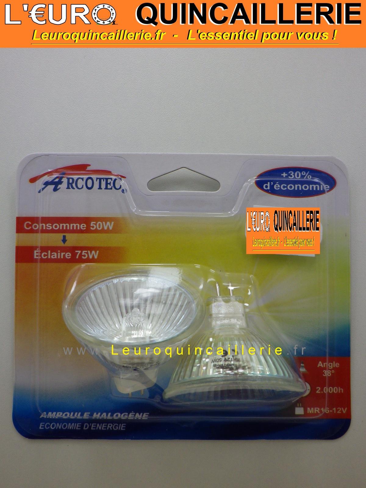 2 Ampoules halogène MR16 12 Volts 50 W éclaire 75 Watts