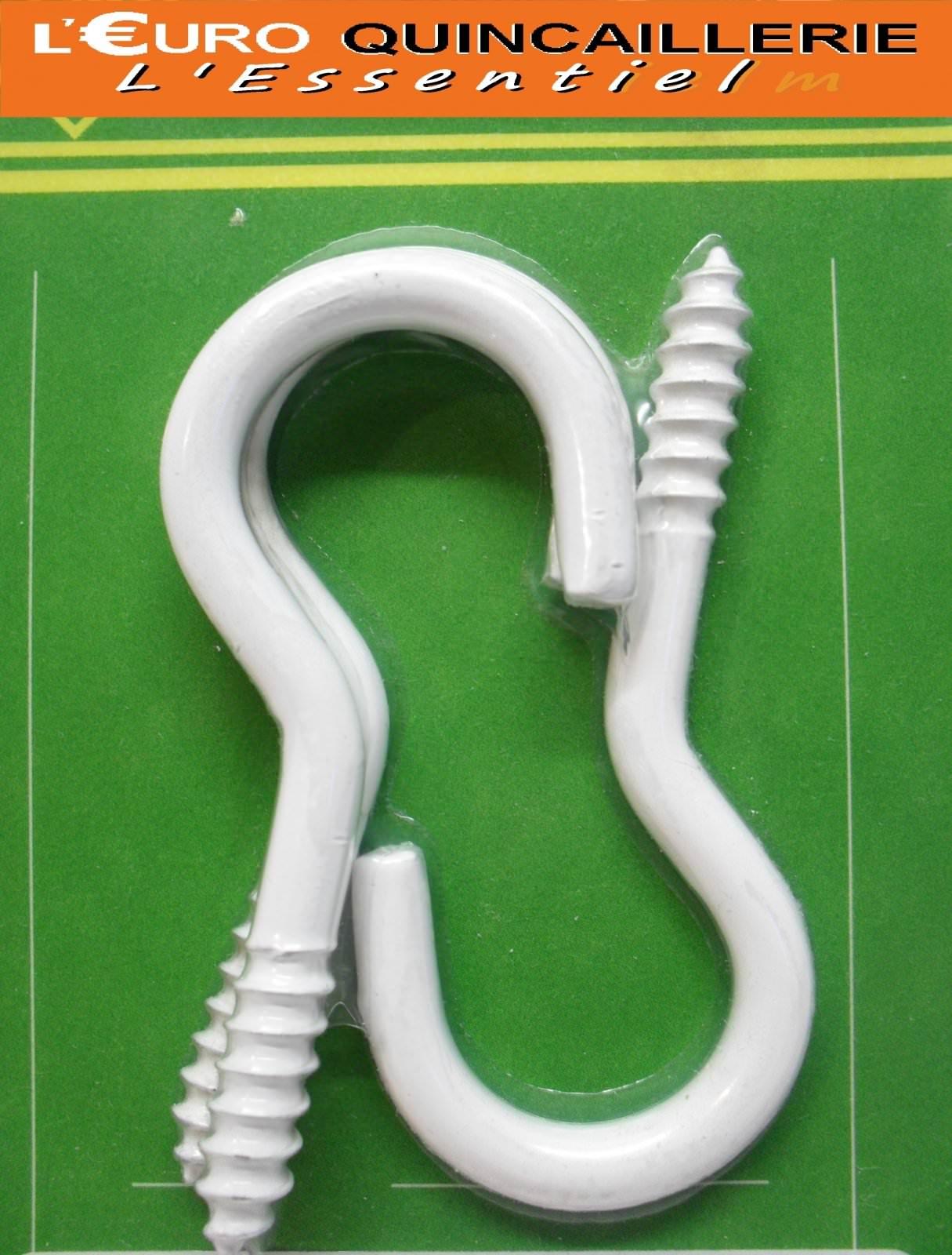 3 Crochets à vis acier plastifié blanc 4,5x35mm