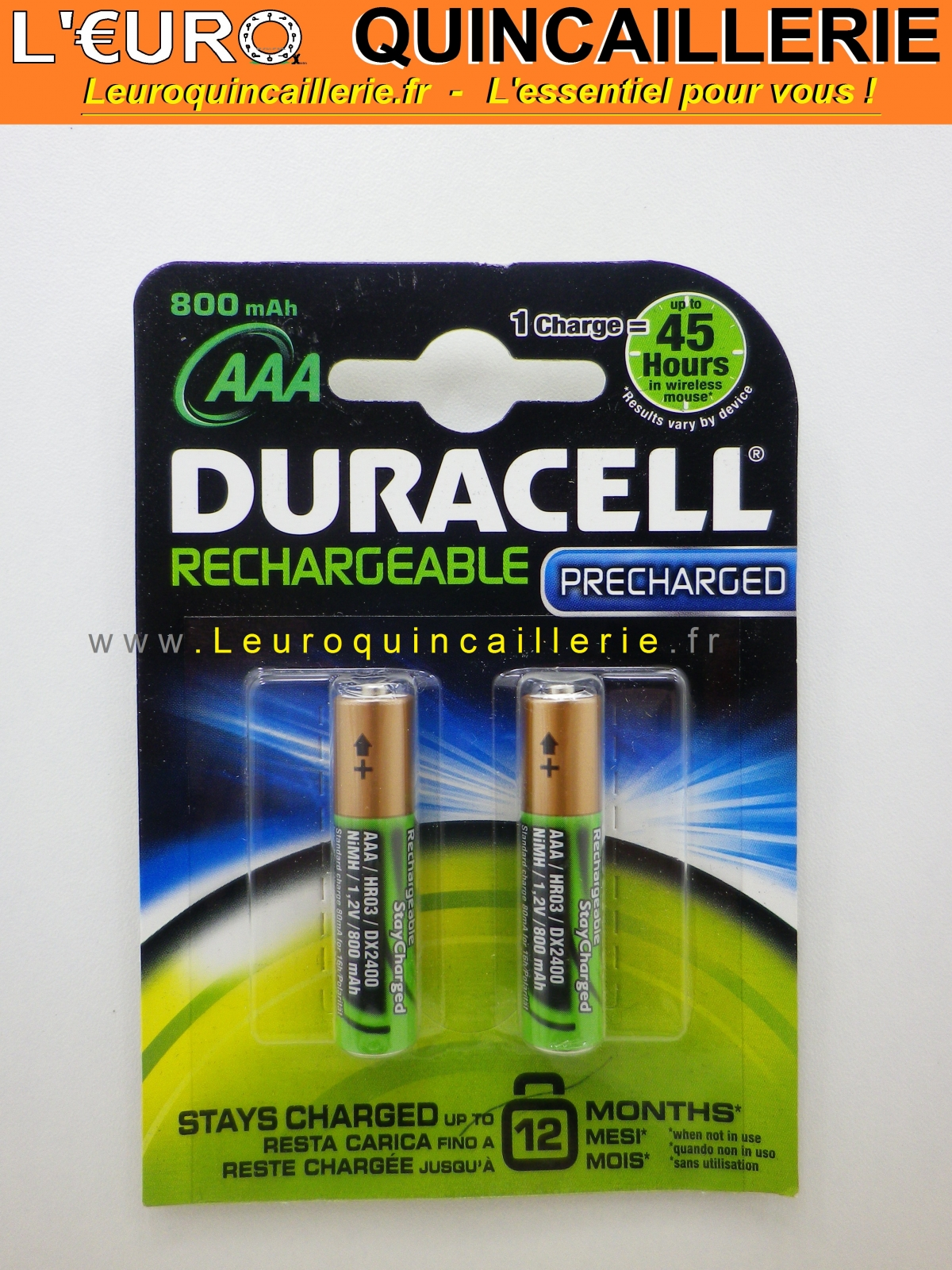 2 piles rechargeable aaa duracel pr charg 800 mah piles. Black Bedroom Furniture Sets. Home Design Ideas
