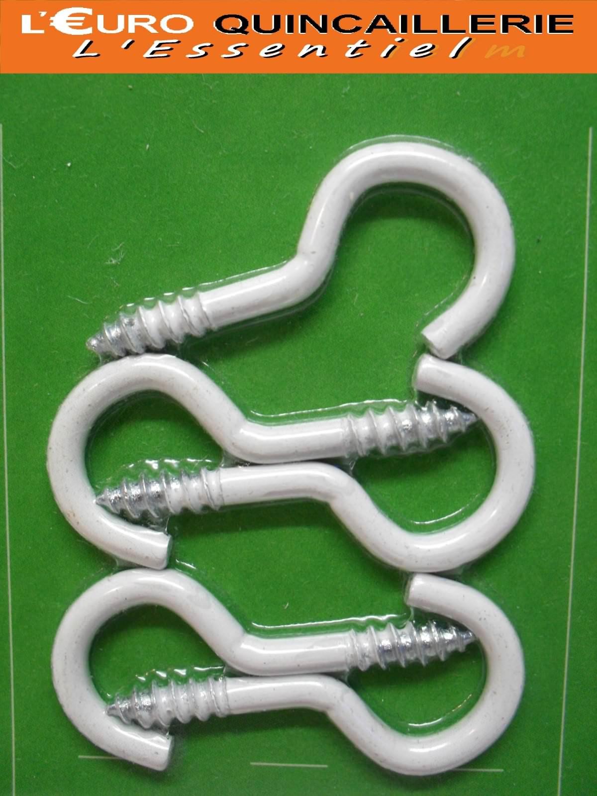 5 Crochets à vis acier plastifié blanc 3,5x20mm