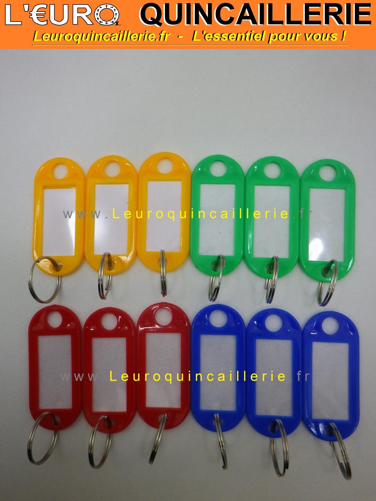 Portes étiquettes couleur avec anneau pour clés