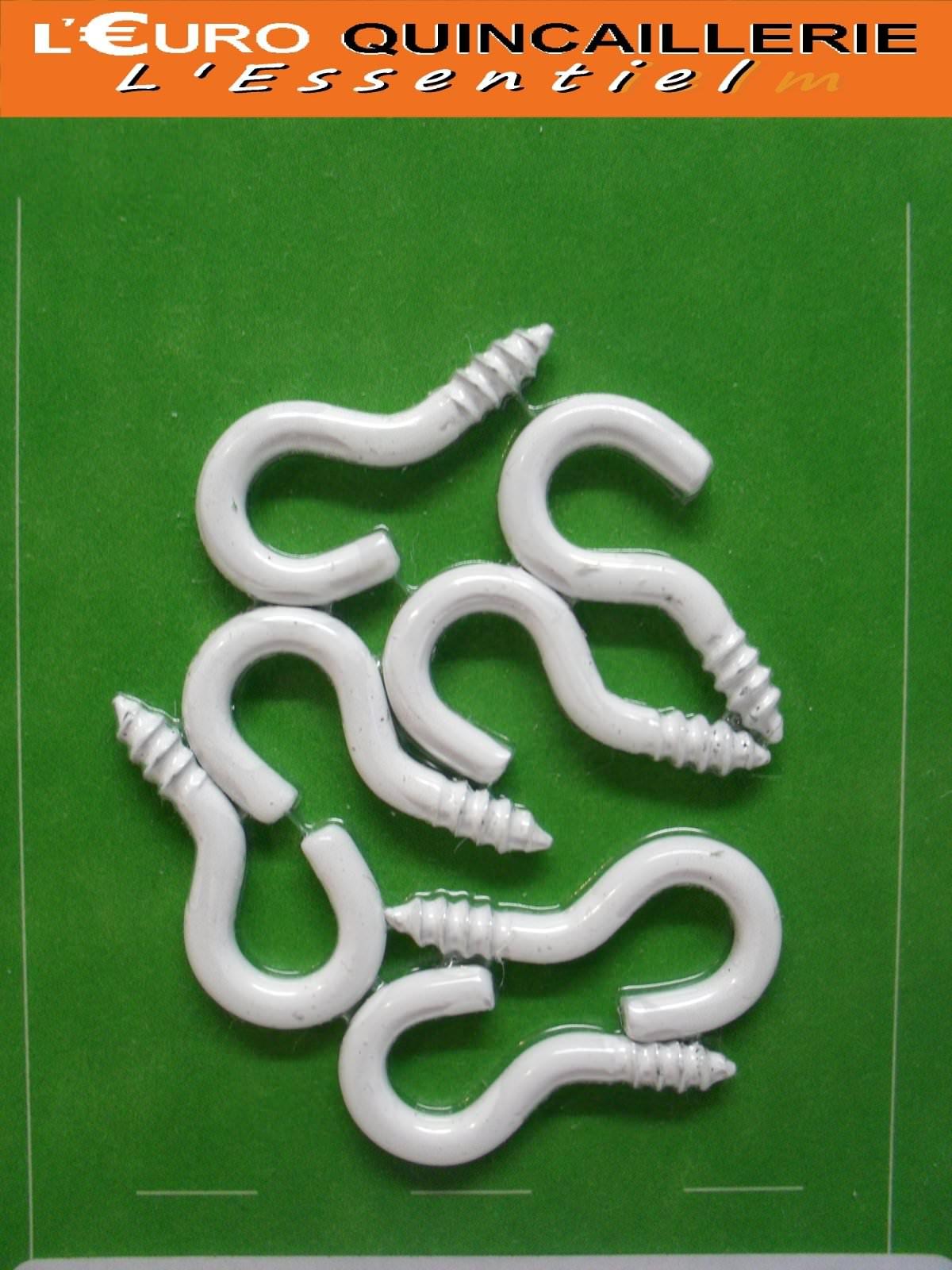 7 Crochets à vis acier plastifié blanc 2,5x12mm