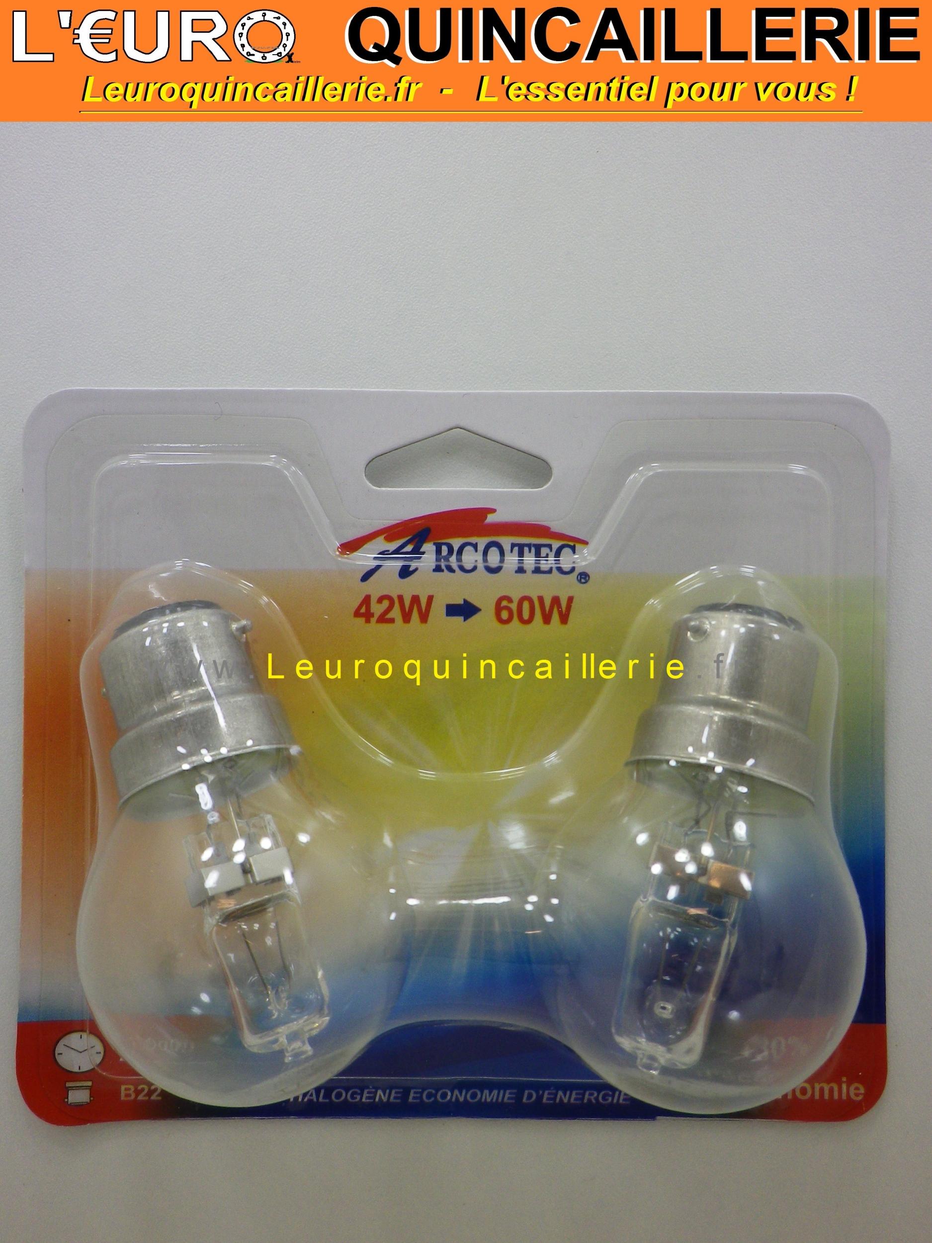 Ampoule sphérique halogène B22 42w=60w