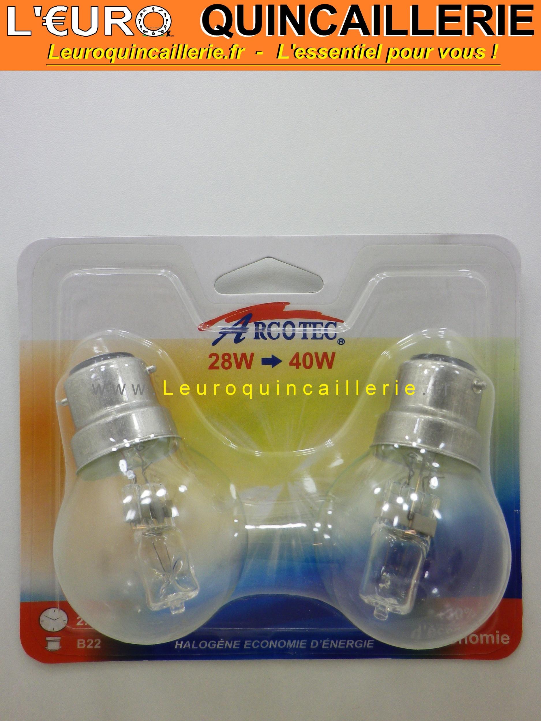 Ampoule sphérique halogène B22 28w=40w