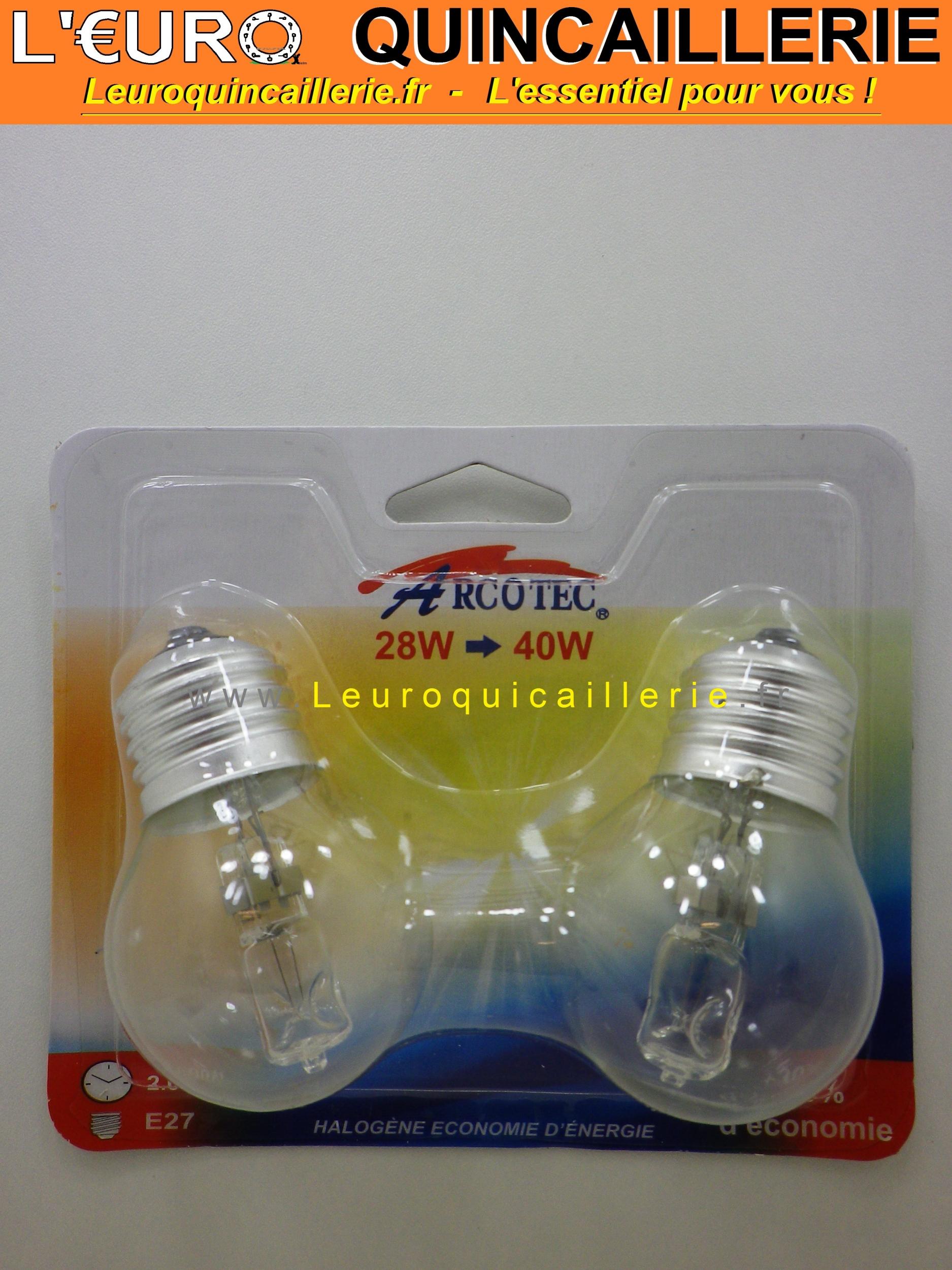 Ampoule sphérique halogène E27 28 w=40w