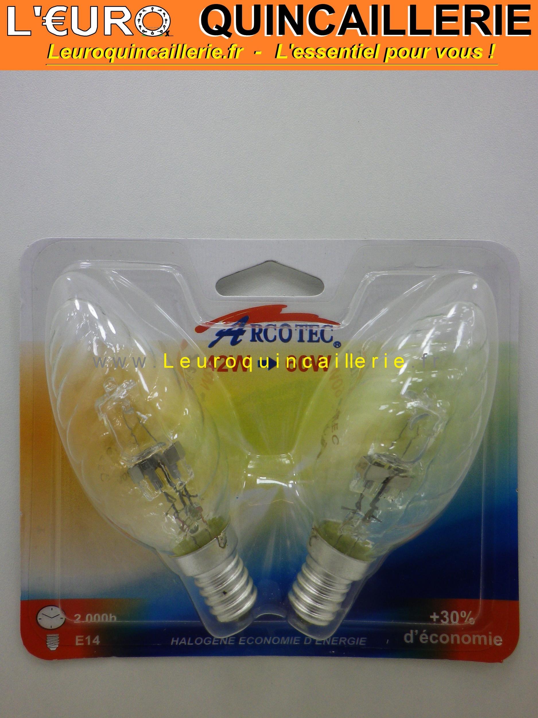 Ampoule flamme torsadée halogène E14 42w=60w