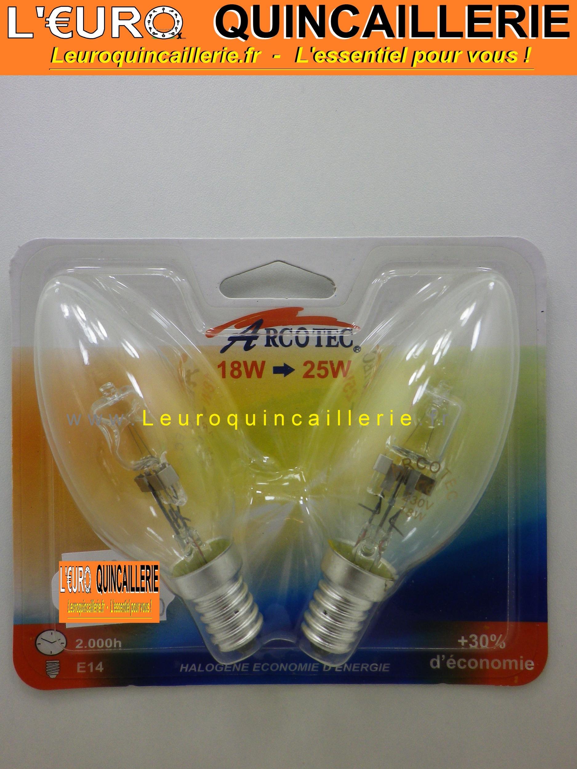 Ampoule flamme halogène E14 18w=25w