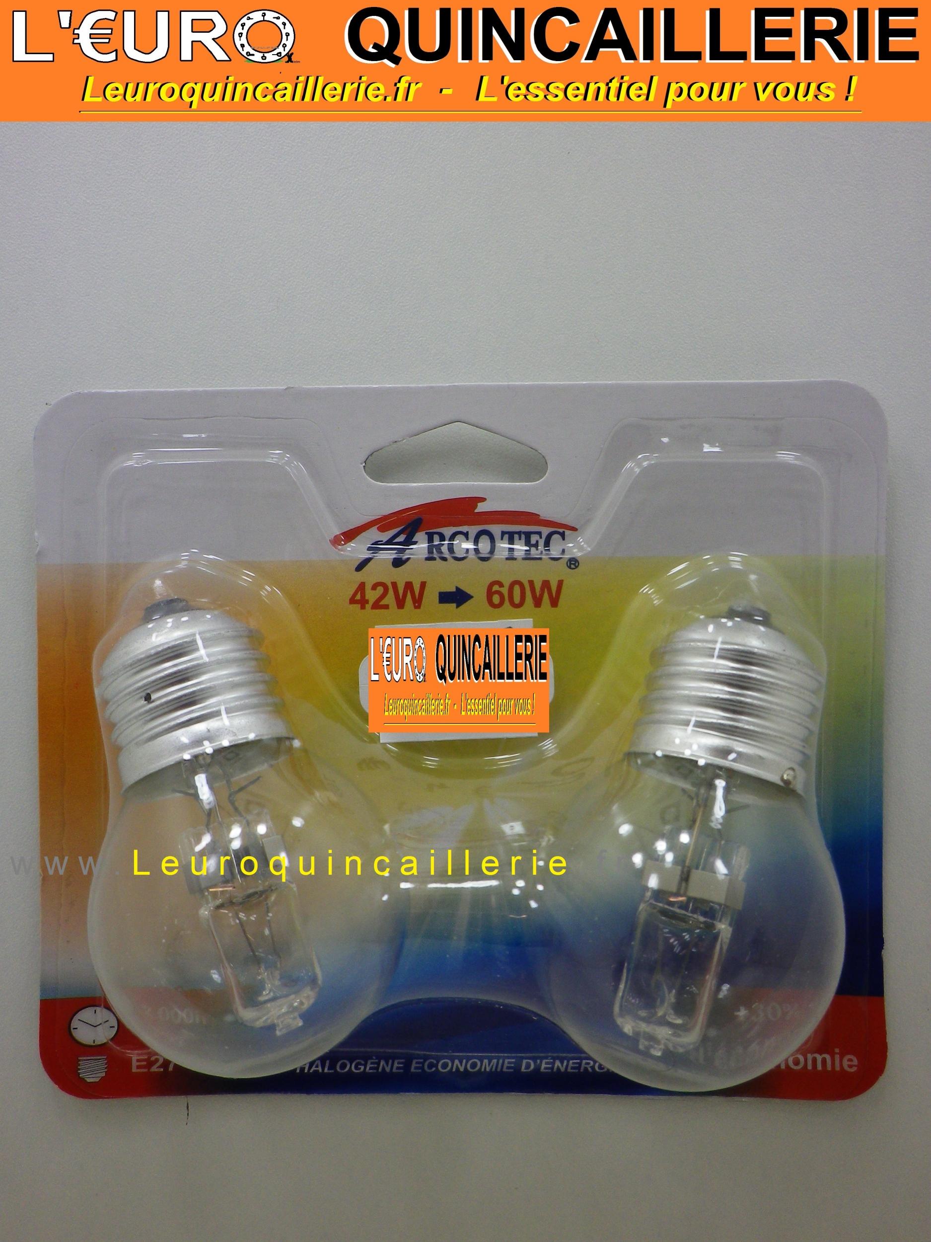 Ampoule sphérique halogène E27 42 w=60w