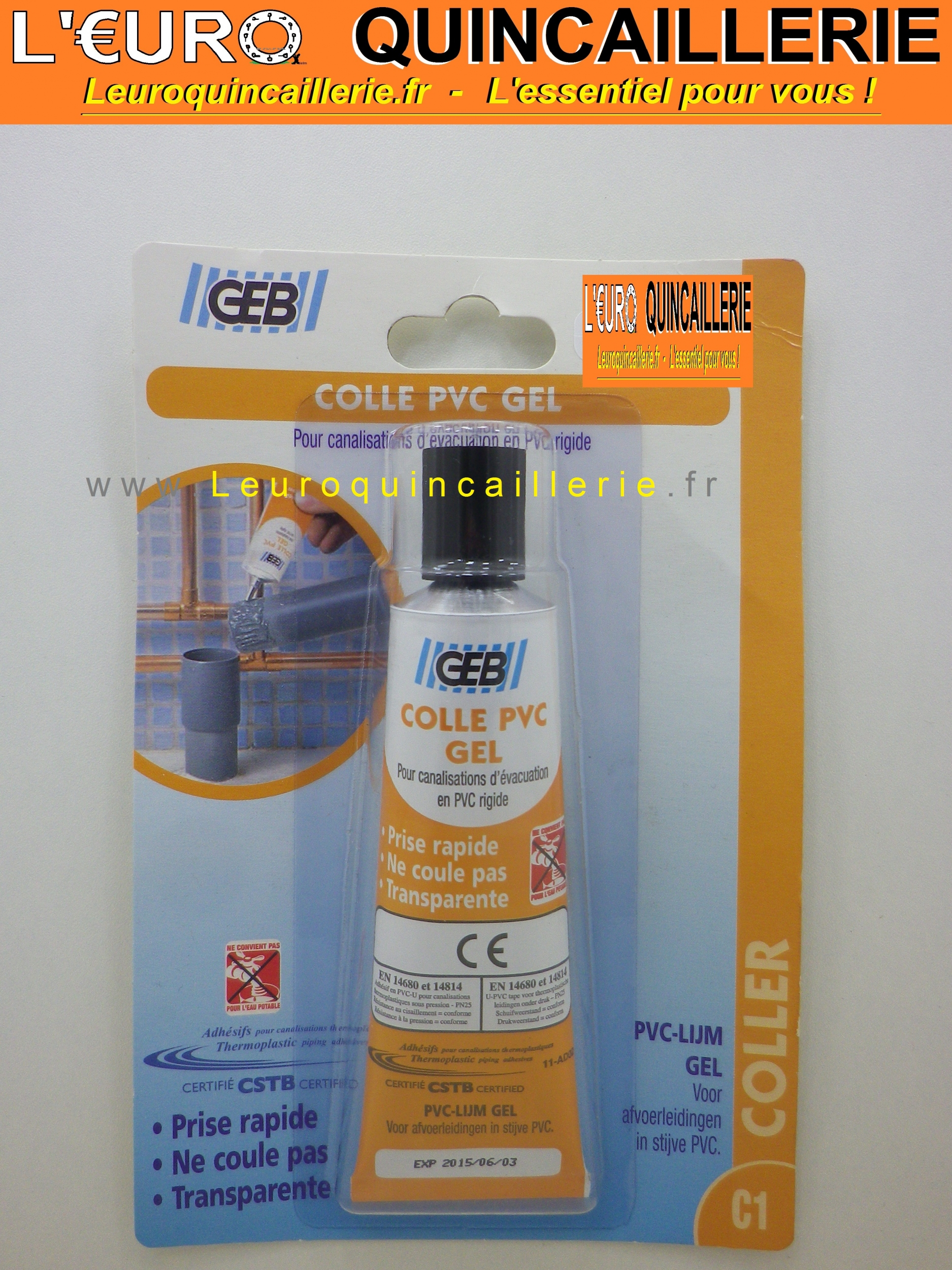 Colle PVC GEB tube Gél 50ml prise rapide