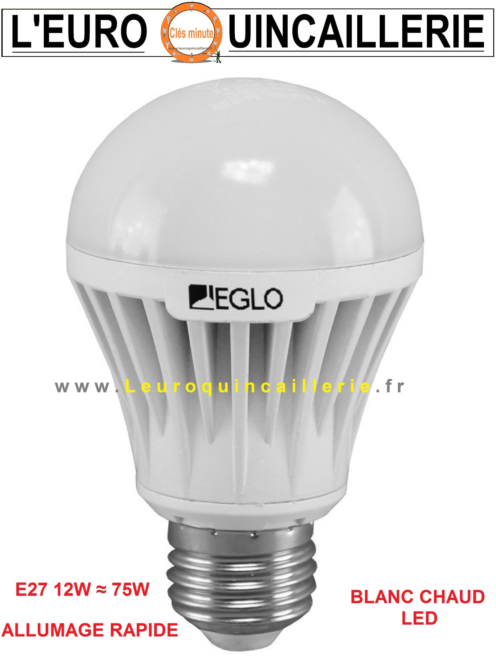 Ampoule à LED standard E27 12W ≈ 75w blanc chaud