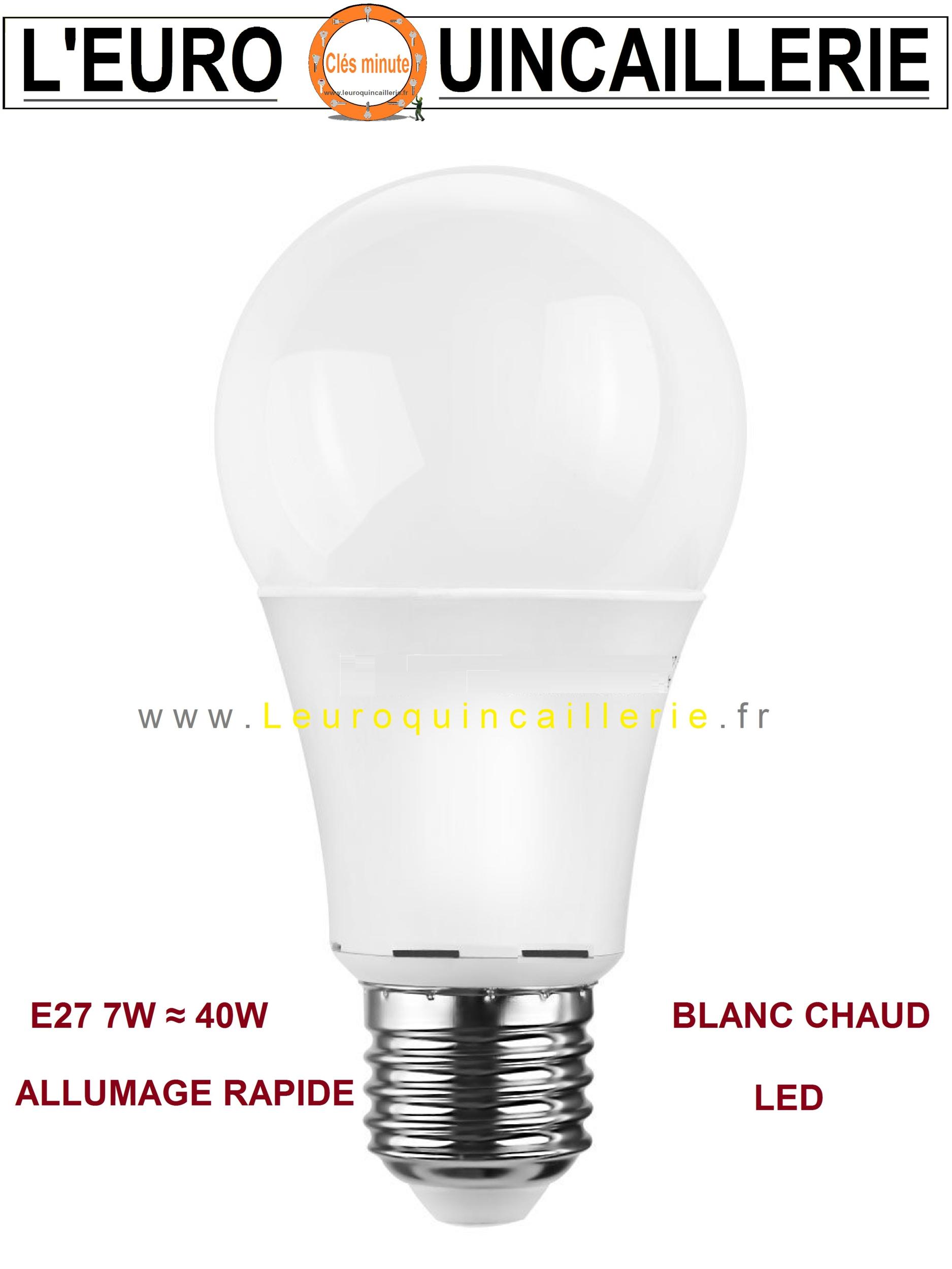 Ampoule à LED standard E27 7W ≈ 40w blanc chaud