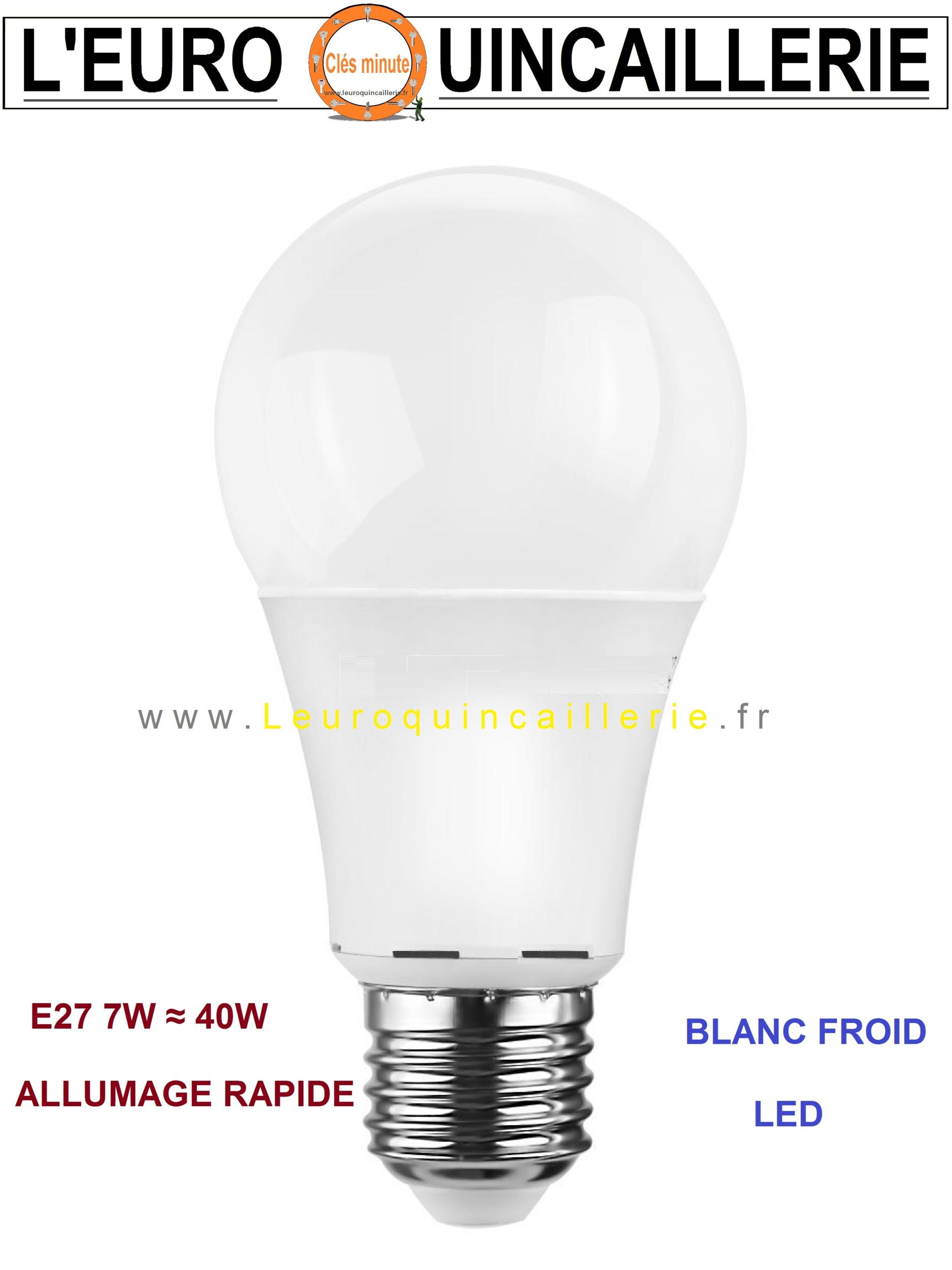 ampoule led standard e27 7w 40w blanc froid ampoules a led e27 moins cher economique. Black Bedroom Furniture Sets. Home Design Ideas
