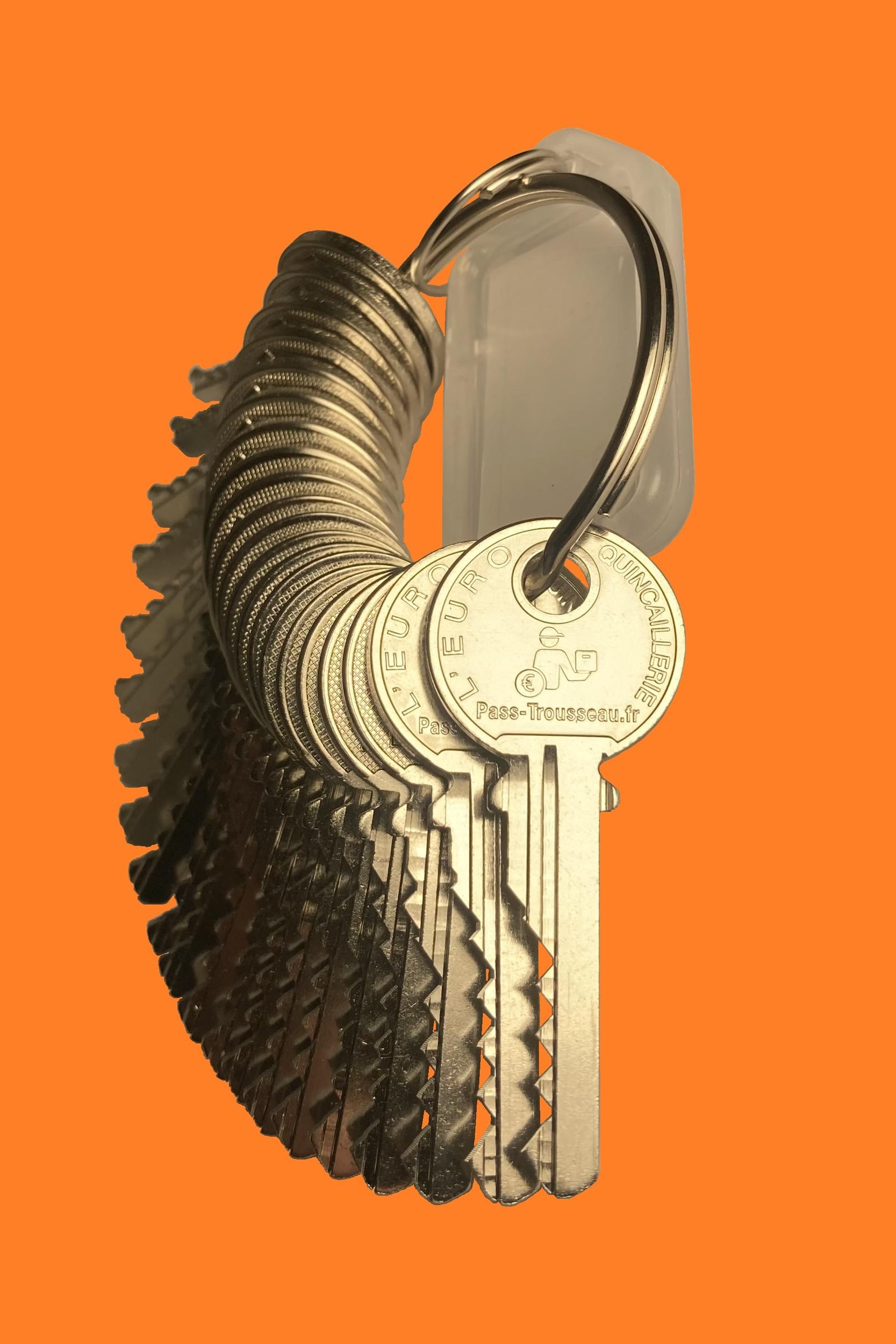 Trousseau de clés PTT moins cher Pass-Trousseau orange