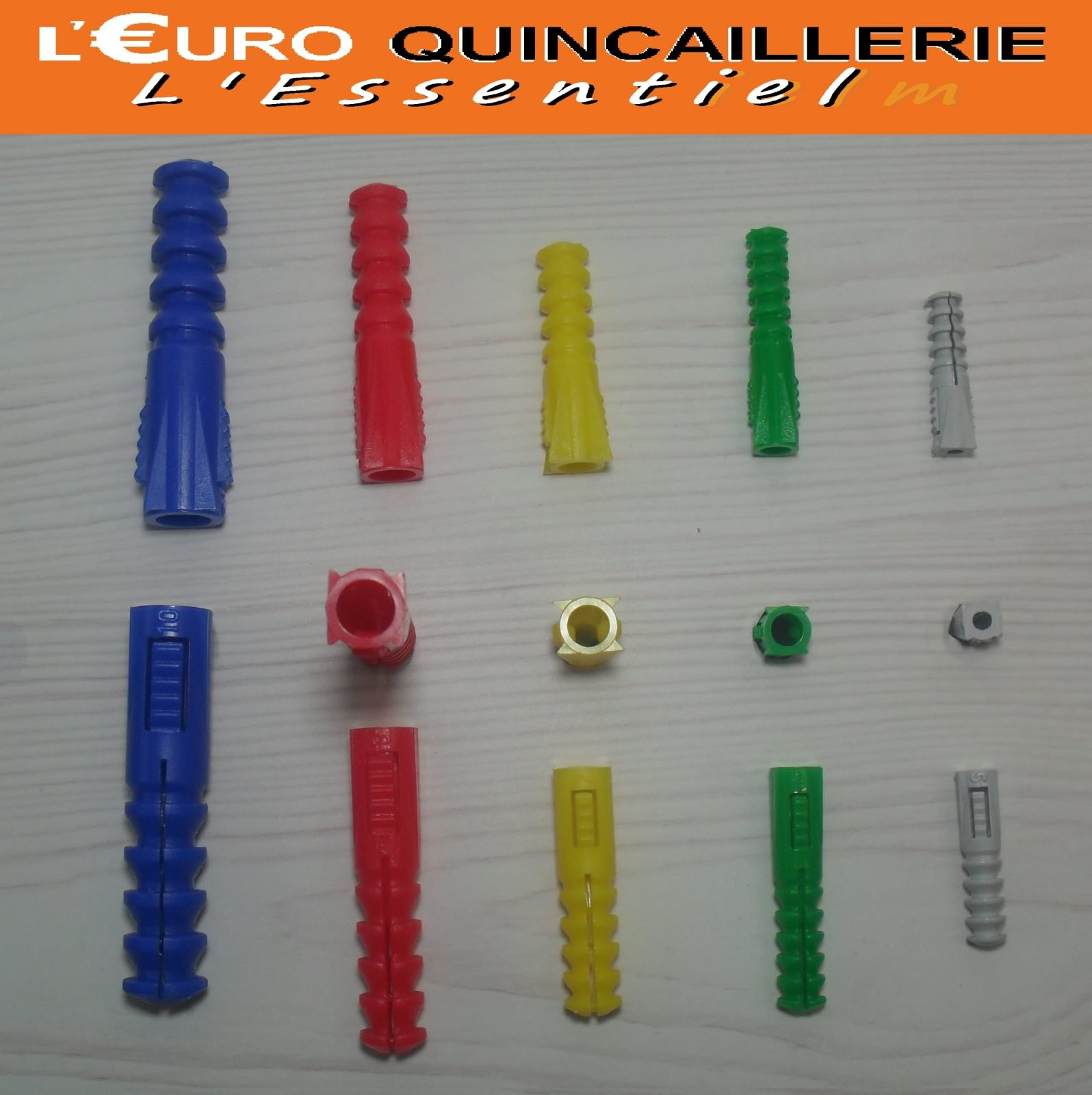 100 Chevilles assorties plastiques  Ø 5-6-7-8-10