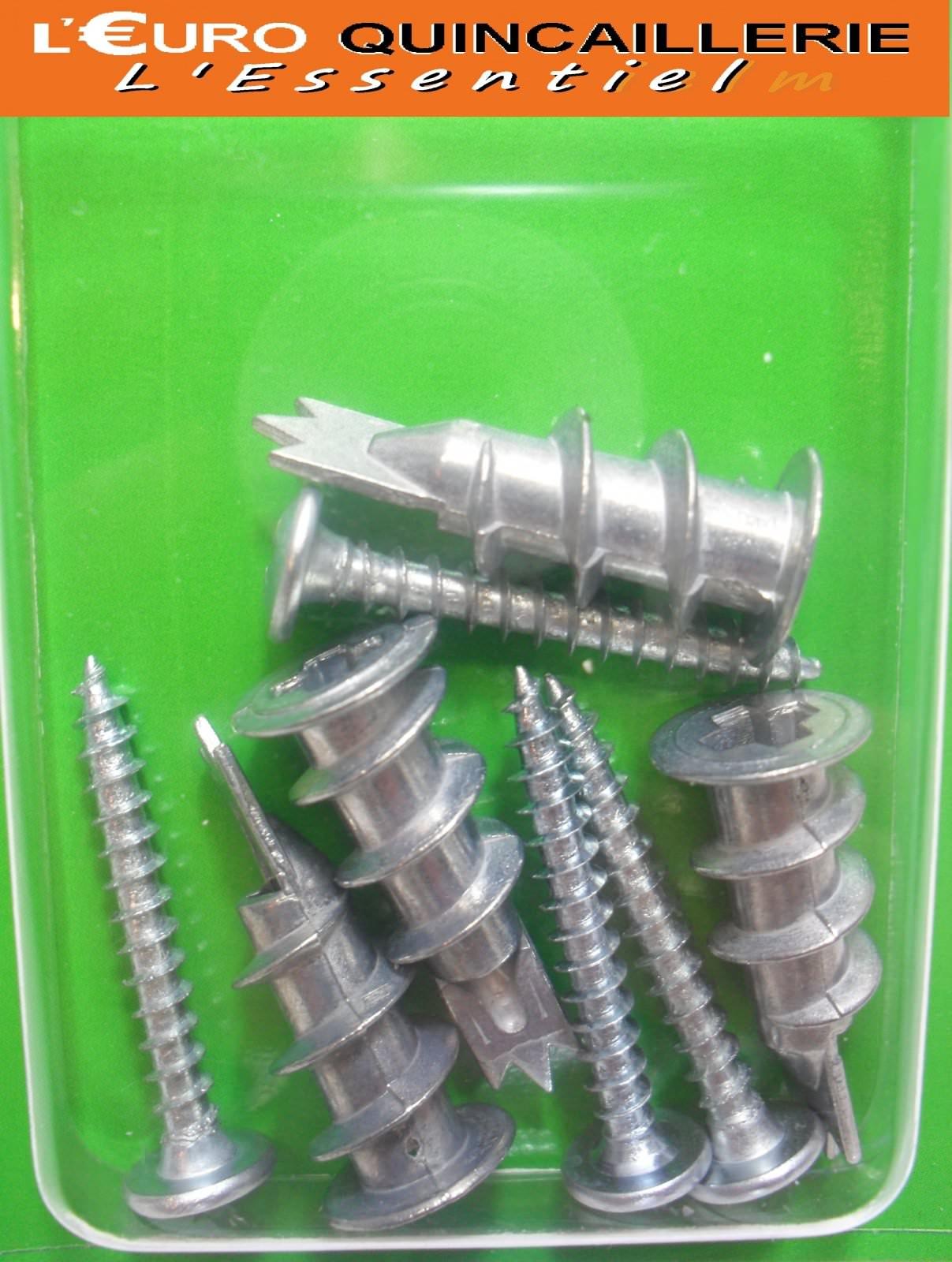 4 Chevilles auto-forantes matériaux creux vis 4.5x35mm