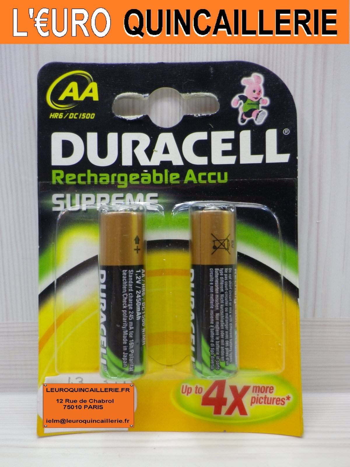 2 Piles rechargeable Duracell HR6 AA 2400mAh