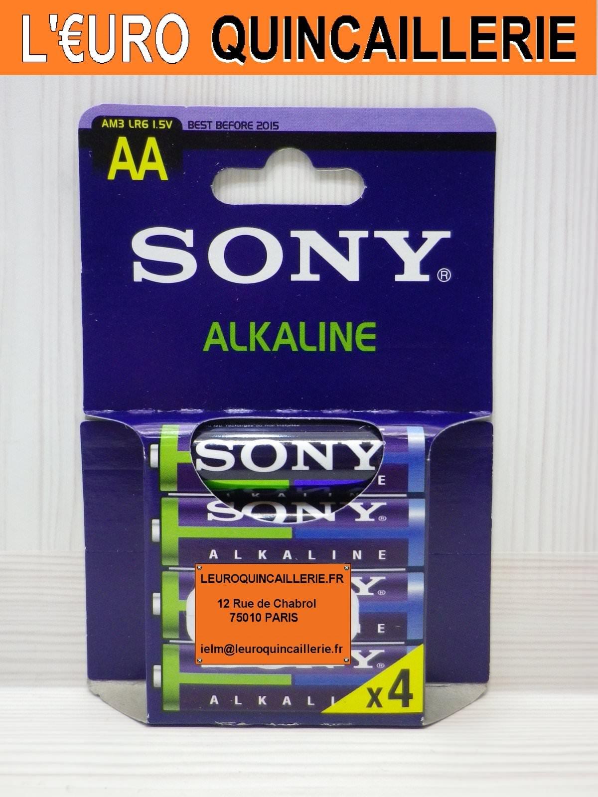 4 Piles LR6 AA Sony Alkaline1,5V